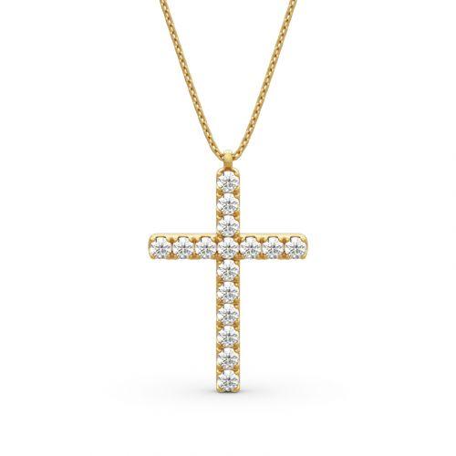Jeulia Cross Design Round Cut Sterling Silver Men's Necklace