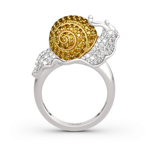 "Jeulia ""Dream Garden"" Snail Design Sterling Silver Ring"