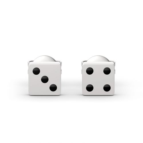 """Jeulia """"The Luck Belongs to You"""" Lucky Seven Dice Sterling Silver Earrings"""