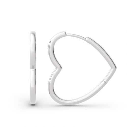 Jeulia Classic Heart Design Sterling Silver Hoop Earrings