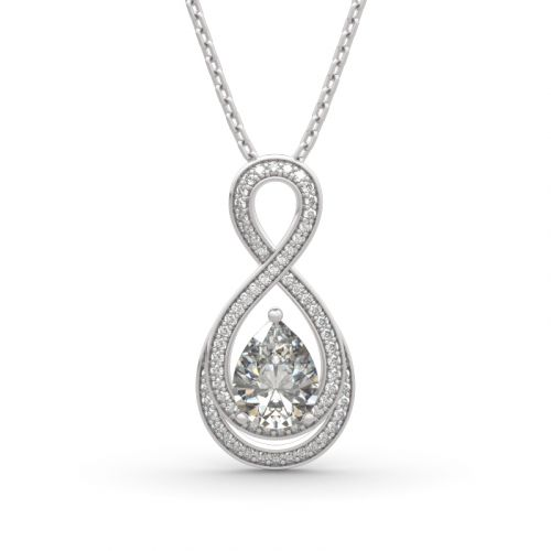"Jeulia ""Infinity Love"" Pear Cut Sterling Silver Necklace"