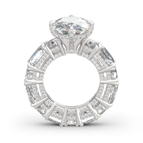 Cushion Cut Three Sided Pave Sterling Silver Eternity Ring