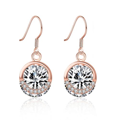 Rose Gold Tone Round Cut Stone Sterling Silver Earring Drops