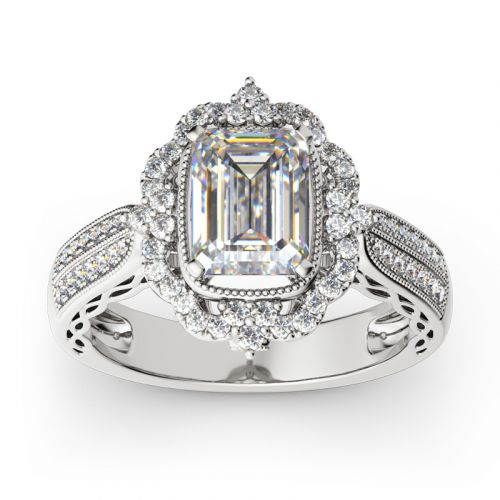 Vintage Halo Emerald Cut Sterling Silver Ring