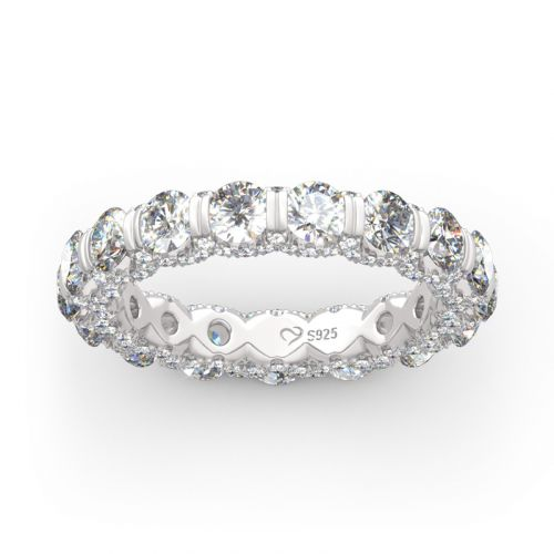 Round Cut Eternity Three Sided Pave Sterling Silver Women's Band