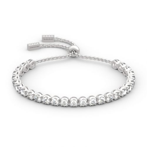 Classic Round Cut Sterling Silver Bolo Tennis Bracelet