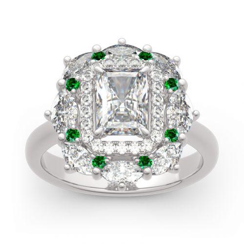Cinderella Halo Radiant Cut Sterling Silver Ring