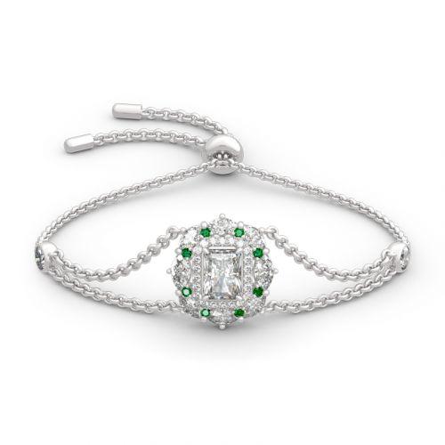 Cinderella Halo Radiant Cut Sterling Silver Bracelet