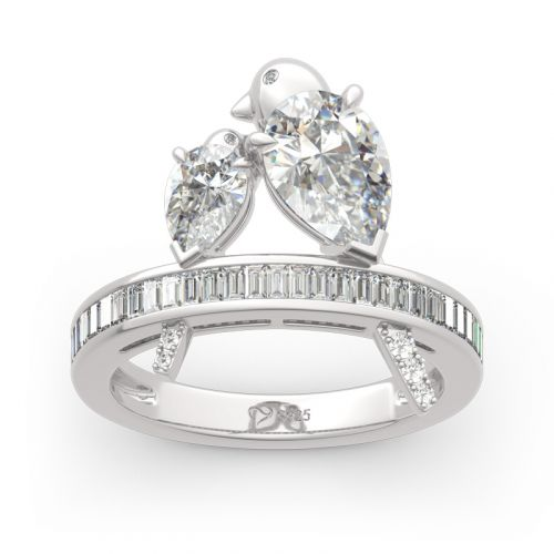 Two Bird Pear Cut Sterling Silver Ring
