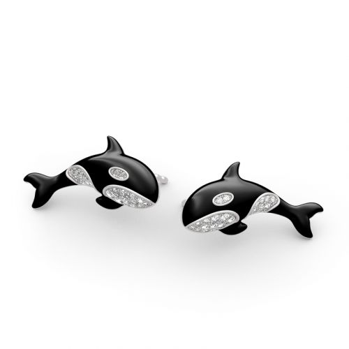 Orca Killer Whale Sterling Silver Earrings