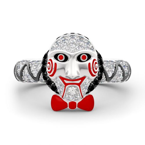 """Jigsaw Killer's Mask ""Sterling Silver Ring"