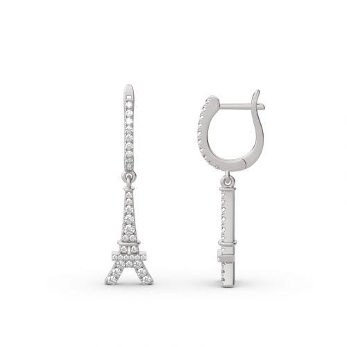 Eiffel Tower Sterling Silver Drop Earrings
