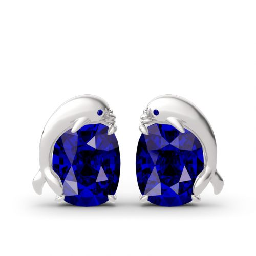Lovely Dolphin Sapphire Cushion Cut Sterling Silver Stud Earrings