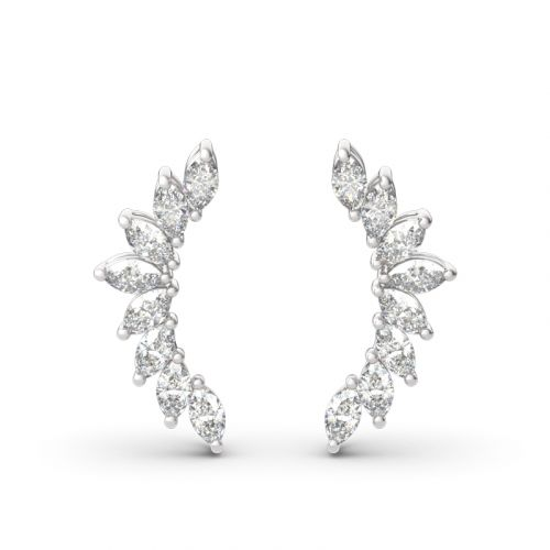 Leaves Marquise Cut Sterling Silver Climber Earrings