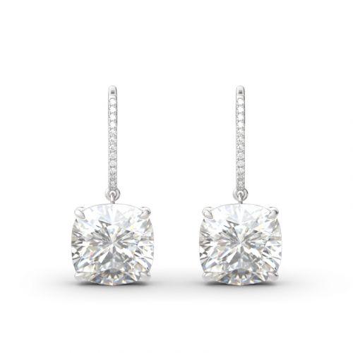 Luxury Cushion Cut Sterling Silver Earrings