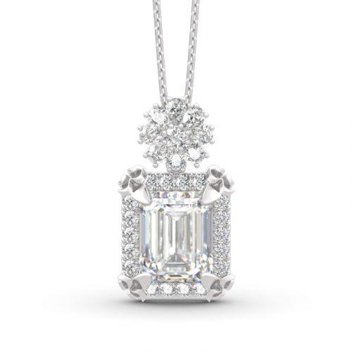 Vintage Flower Halo Emerald Cut Sterling Silver Pendant Necklace