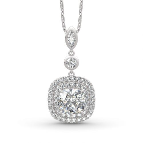Double Halo Cushion Cut Sterling Silver Necklace