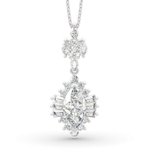 Dazzling Halo Marquise Cut Sterling Silver Necklace
