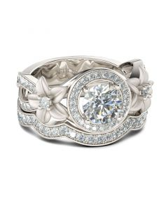 Halo Flower Round Cut Sterling Silver Ring Set