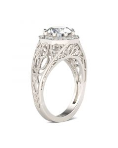 Octagon Round Cut Sterling Silver Ring