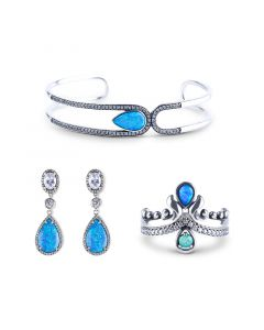 Jeulia Waterdrop Opal Sterling Silver Jewelry Set