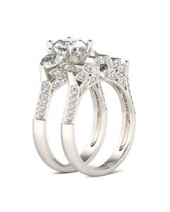 Three Stone Leaf Shape Round Cut Sterling Silver Ring Set