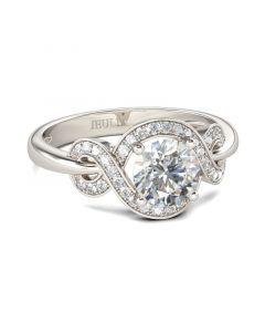 Jeulia  Unique Halo Round Cut Sterling Silver Ring