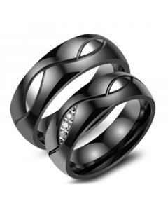 Black Titanium Steel Couple Rings