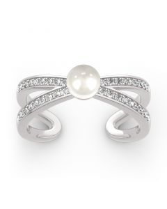 Split Shank Cultured Pearl Sterling Silver Ring