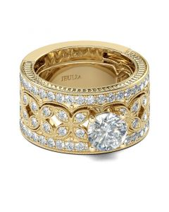 Gold Tone Milgrain Round Cut Sterling Silver Ring Set
