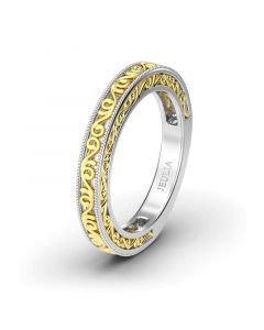 Jeulia  Two Tone Swirl Sterling Silver Ring Women's Band