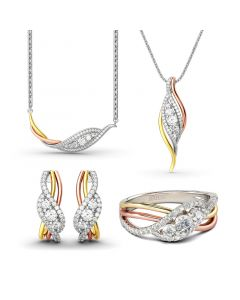 Tri-Tone Round Cut Sterling Silver Jewelry Set