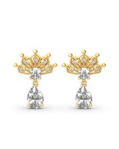Crown Pear Cut Sterling Silver Drop Earring