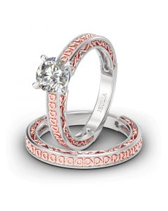 Heart Design Round Cut Sterling Silver Ring Set