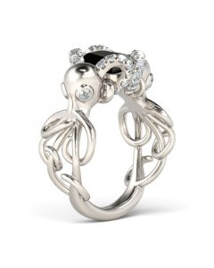Entwined Emerald Cut Sterling Silver Octopus Ring