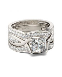 Twist Princess Cut Sterling Silver Ring Set