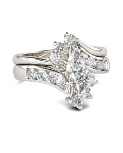 Bypass Marquise Cut Sterling Silver Ring Set
