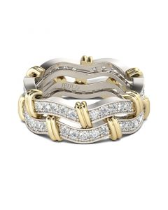 Knot Round Cut Sterling Silver Women's Band