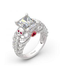 Radiant Cut Skeleton Heart Sterling Silver Skull Ring