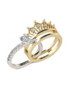 Two Tone Crown Round Cut Sterling Silver Ring set