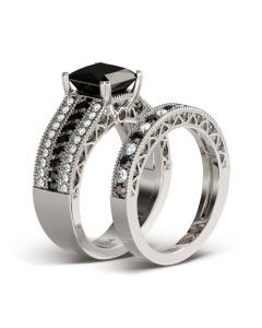 Princess Cut Sterling Silver Ring Set