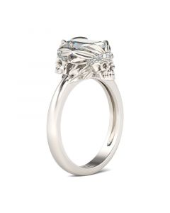 Simple Emerald Cut Sterling Silver Skull Ring