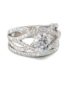 Jeulia  Twist Round Cut Sterling Silver Ring Set