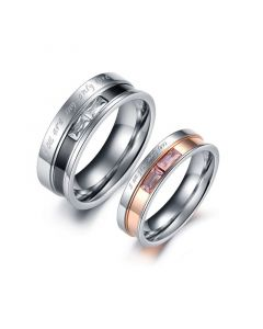 Engraved Two Tone Titanium Steel Couple Rings