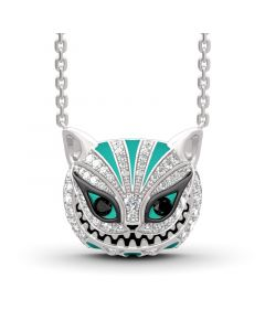"""""""Grinning Like a Cheshire Cat"""" Sterling Silver Enamel Necklace"""