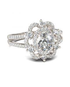 Floral Halo Split Shank Oval Cut Sterling Silver Ring