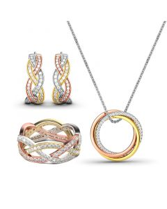 Tri-Tone Intertwined Sterling Silver Jewelry Set