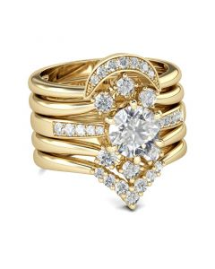 Yellow Gold Tone 5PC Round Cut Sterling Silver Ring Set