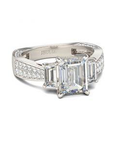 Three Stone Emerald Cut Sterling Silver Ring