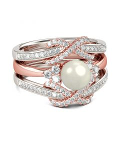 Jeulia  Two Tone Faux Pearl Sterling Silver Enhancer Ring Set